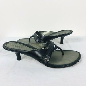 Cole Haan Size 9.5 Black Leather Thong Sandals